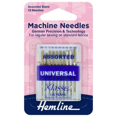 Hemline Sewing Machine Needles: Universal: Assorted: 10 Pieces