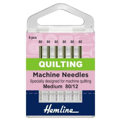 Hemline Sewing Machine Needles: Quilting: Medium 80/12: 6 Pieces