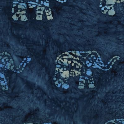 Batik Cotton Fabric - Navy Elephants