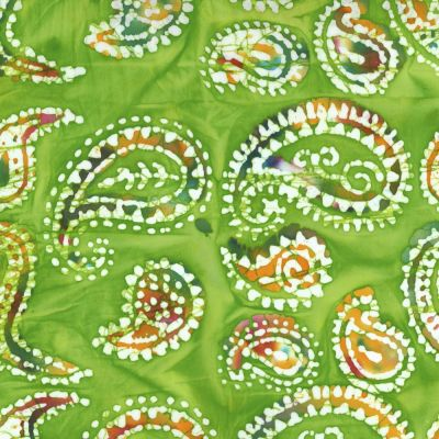 Batik Cotton Fabric - Paisleys On Green