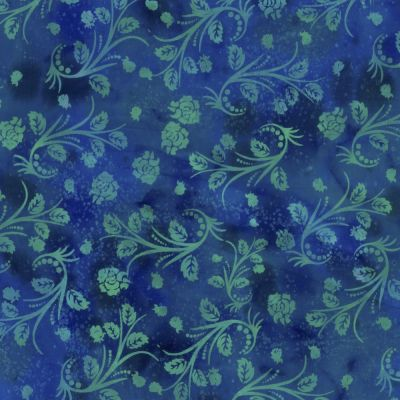 Batik Cotton Fabric - Roses On Blue