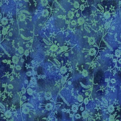 Batik Cotton Fabric - Wild Flowers On Blue