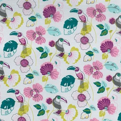 Stretch Cotton Jersey - Toucans On Grey
