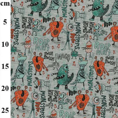 Cotton Spandex Jersey Print - Monster Party On Grey