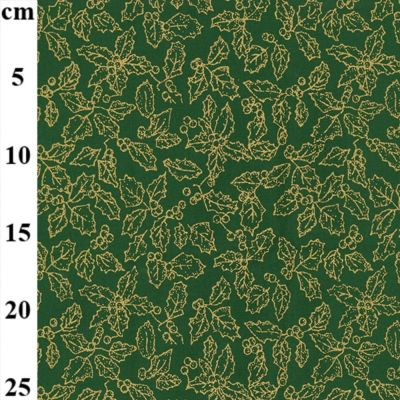 Christmas Cotton Holly On Green Metallic
