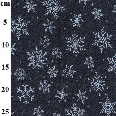 Christmas Cotton Snowflakes On Navy Metallic