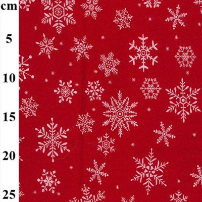 Christmas Cotton Snowflakes On Red Metallic