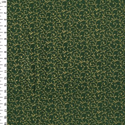 Christmas Cotton Scroll Green Metallic