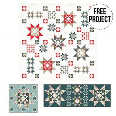Makower  Joy Christmas 2020 Quilt, Runner and Cushion - Free Download