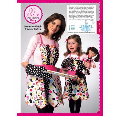 "Kwik Sewing Pattern K0124 Adult/Children's/18"" Doll Aprons and Mitt"