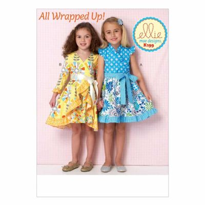 Kwik Sewing Pattern K0199 Girls' Dresses and Sash