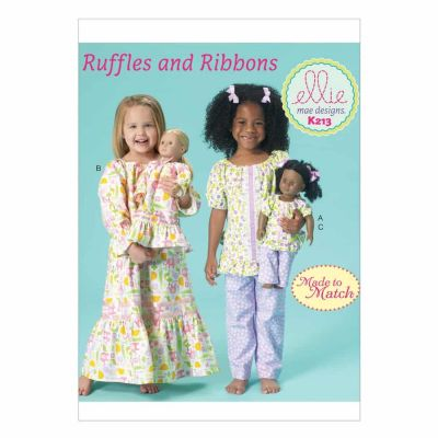 "Kwik Sewing Pattern K0213 Girls'/18"" Dolls' Top, Gown and Pants"