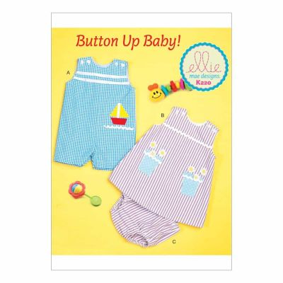 Kwik Sewing Pattern K0220 Infants' Buttoned and Appliquéd Overalls, Dress and Panties