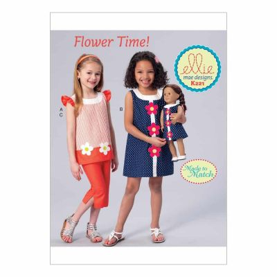 "Kwik Sewing Pattern K0221 Girls' Banded, Appliquéd Dress, Top and Capris, with Dress for 18"" Doll"