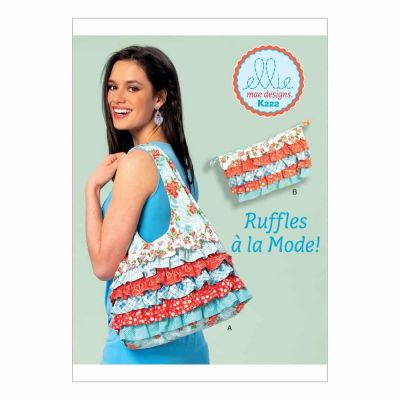 Kwik Sewing Pattern K0222 Shoulder Bag and Cosmetic Pouch with Contrast Ruffles