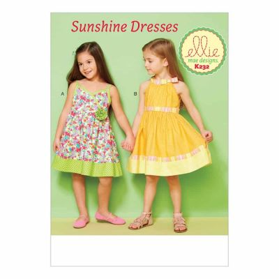 Kwik Sewing Pattern K0232 Girls' Lined Dresses with Contrast Bands