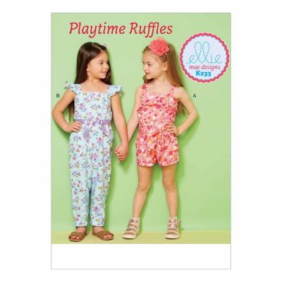 Kwik Sewing Pattern K0233 Girls' Ruffled Jumpsuit, Romper and Sash