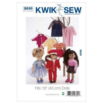 "Kwik Sewing Pattern K2830 Doll clothing — fits 18"" (45 cm) dolls"