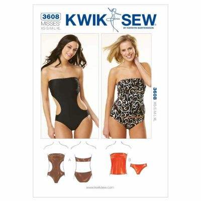 Kwik Sewing Pattern K3608 Strapless Swimsuits