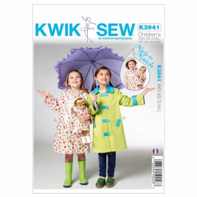 Kwik Sewing Pattern K3941 Children's & Doll Raincoats