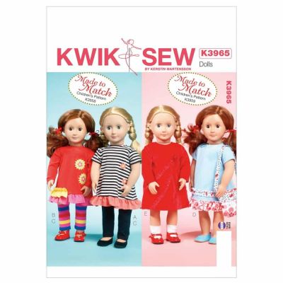 """Kwik Sewing Pattern K3965 Clothes For 18"""" Doll"""