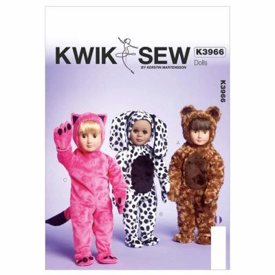 """Kwik Sewing Pattern K3966 Clothes For 18"""" Doll"""
