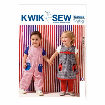 Kwik Sewing Pattern K3983 Toddlers' Dress, Overalls and Pants