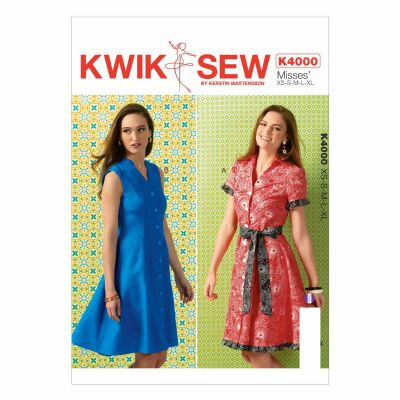 Kwik Sewing Pattern K4000 Misses' Dresses and Belt