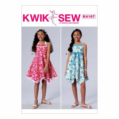 Kwik Sewing Pattern K4167 Girls' Handkerchief-Hem Halter Dresses and Sash