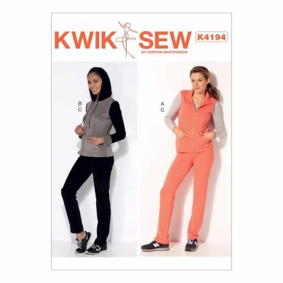 Kwik Sewing Pattern K4194 Misses' Stand-Up Collar Vest, Jacket with Hood, and Pull-On Pants