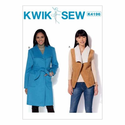 Kwik Sewing Pattern K4196 Misses' Shawl Collar Vest and Coat with Belt