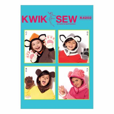 Kwik Sewing Pattern K4202 Kids' Animal-Themed Hoods and Mittens