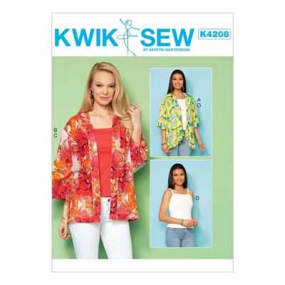 Kwik Sewing Pattern K4208 Misses' Open-Front Loose Jackets and Knit Tops