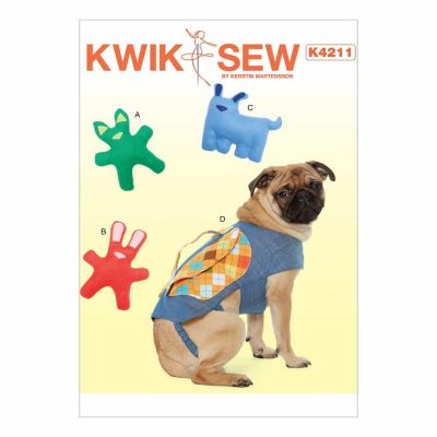 Kwik Sewing Pattern K4211 Dog Toys with Contrast Ears and Nose Appliqué, and Backpack with Handle