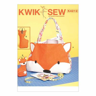Kwik Sewing Pattern K4212 Tote Bag and Scissor Holder with Pockets and Appliqué Front