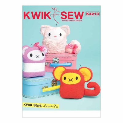 Kwik Sewing Pattern K4213 Animal-Themed Plush Toys with Contrast Appliqués