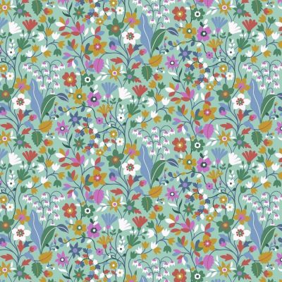 Dashwood - Kaleidoscope Ace Cotton Lawn - Floral Meadow On Teal
