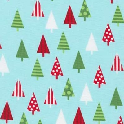 Robert Kaufman Jingle 4 Trees Aqua Cut Length