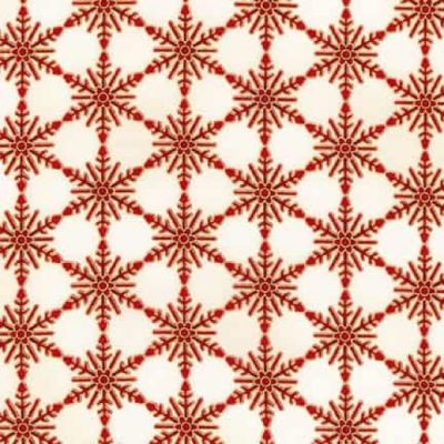 Robert Kaufman Winters Grandeur 5 Snowflakes Frost Crimson Metallic Cut Length