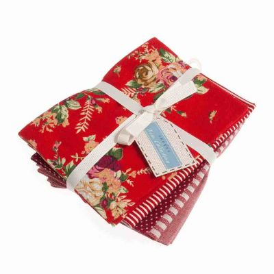Linen Blend - Rich Reds - 5 Fat Quarters