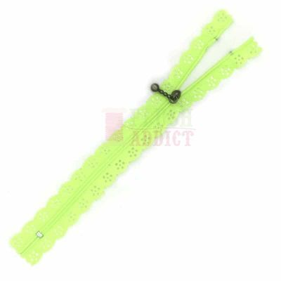 Acid Green Lace Edged Zip