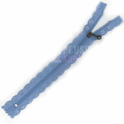 Lace Edged Zip 20cm - Blue