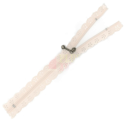 Lace Edged Zip 20cm - Cream