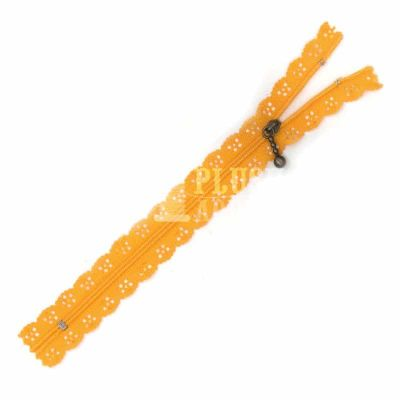 Lace Edged Zip 20cm - Orange