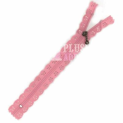 Lace Edged Zip 20cm - Rose Pink