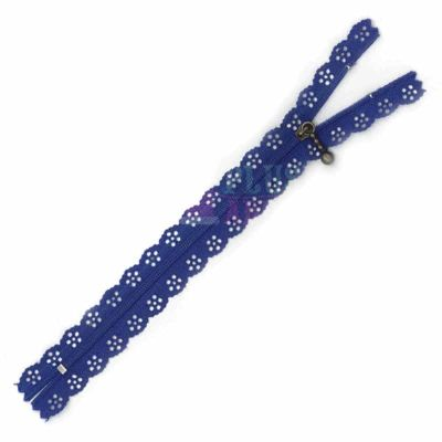 Lace Edged Zip 20cm - Royal Blue