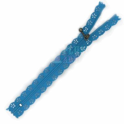Lace Edged Zip 20cm - Turquoise