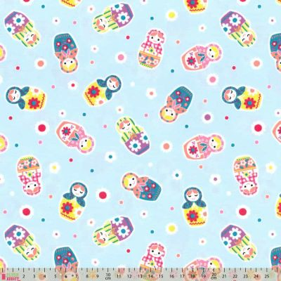 Lecien Nico Nico Land Matryoshka Toss Blue Cut Length