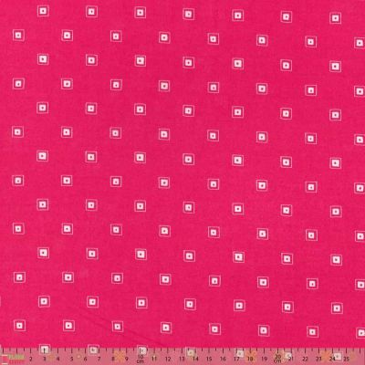 Lecien Modern Basics Geometric Squares On Hot Pink Cut Length