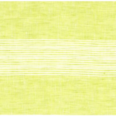 100% Linen Fabric - Stripe - Lemongrass